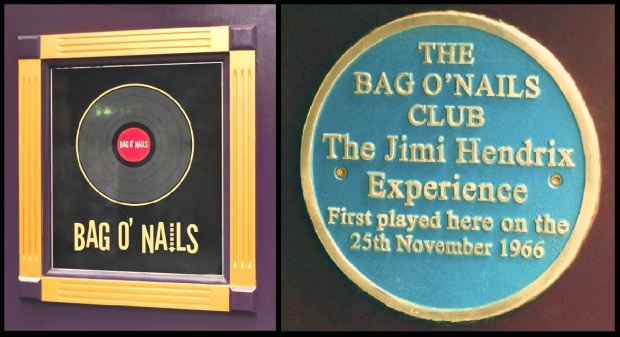 Plaque commemorating the Jimi Hendrix Experience's Bag O'Nails gig