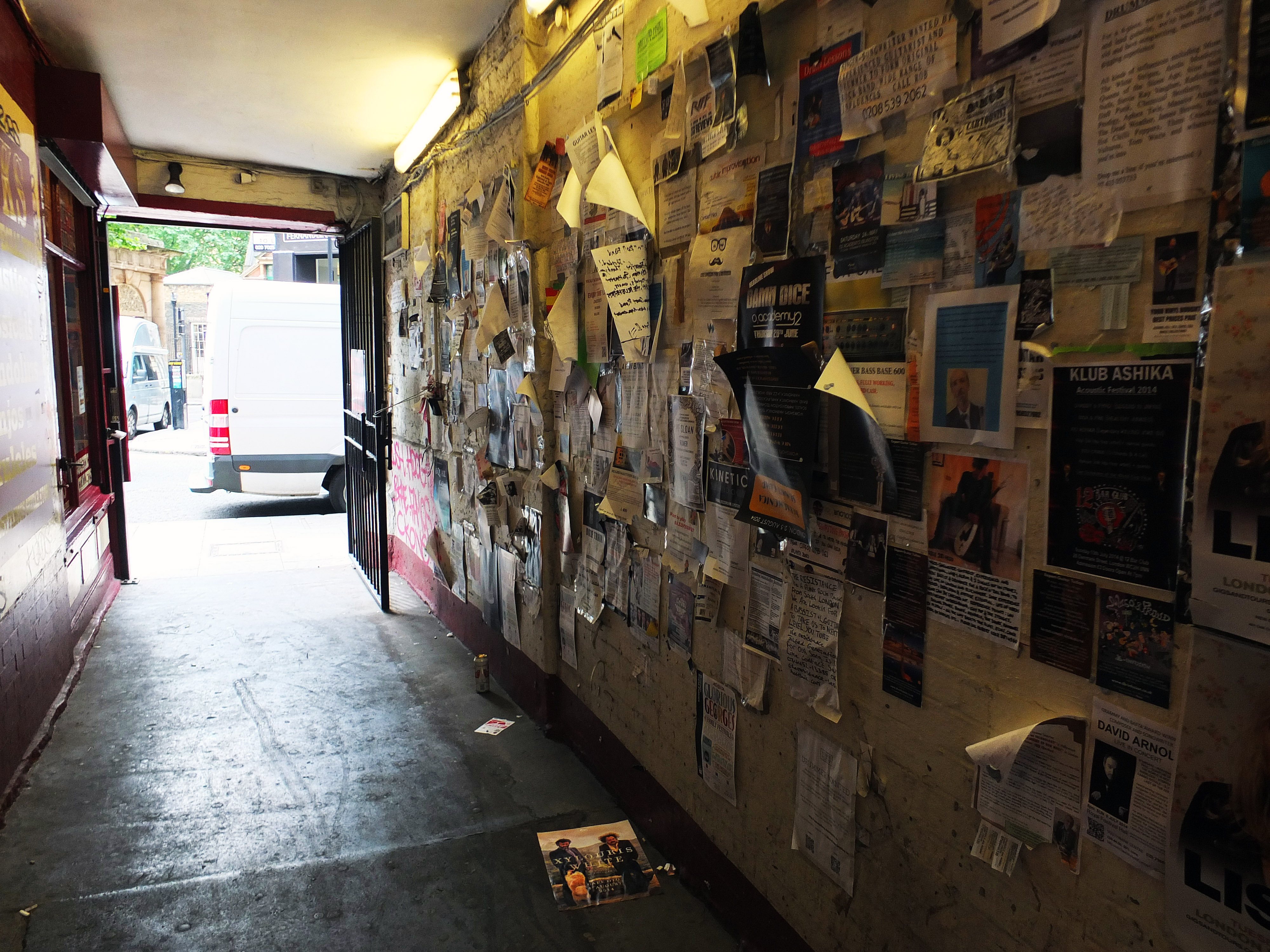 Denmark Place off of Denmark Street... an alley plastered with band adverts and musician requests