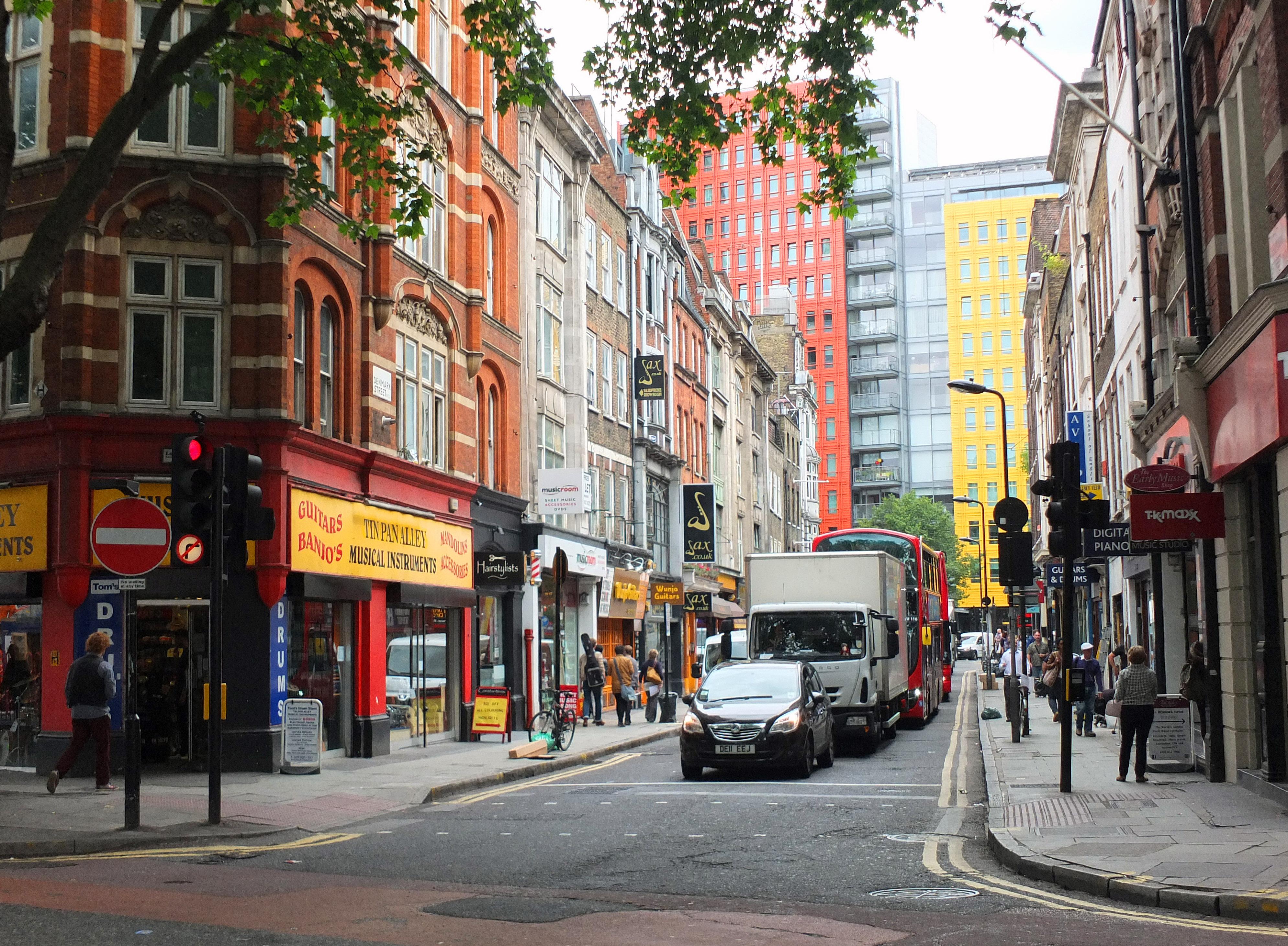 Denmark Street as seen from Charing Cross Road