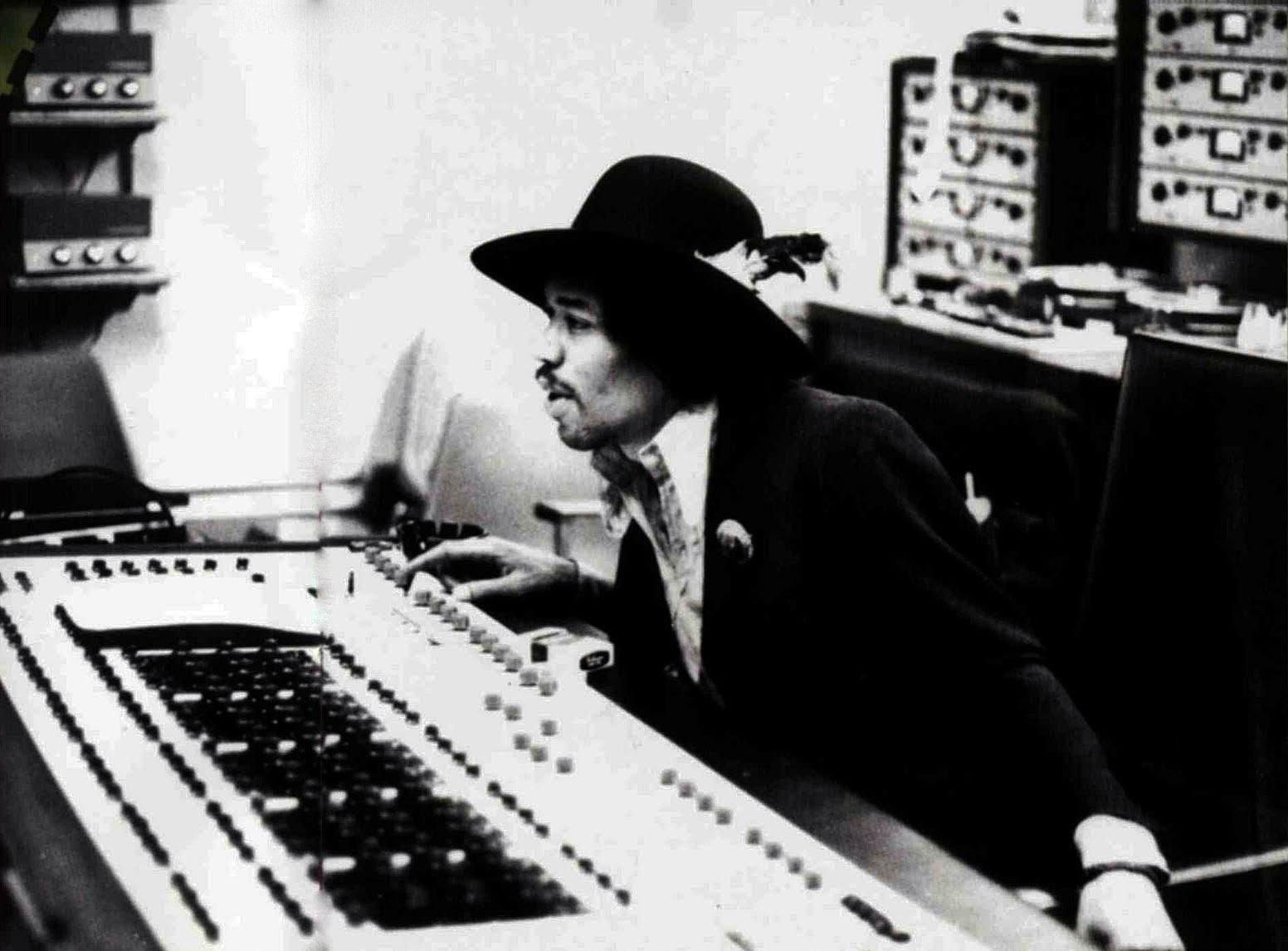 Jimi Hendrix at Olympic Studio's mix desk