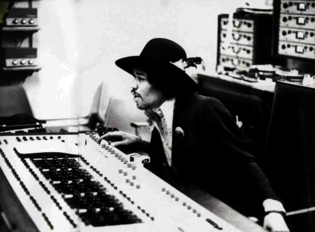 Jimi Hendrix at Olympic Studio's mix desk