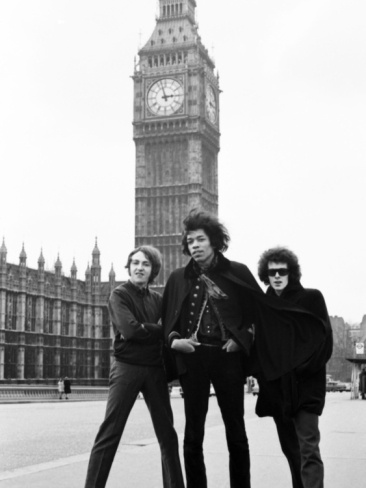 The Jimi Hendrix Experience posing on Westminster Bridge