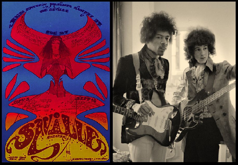 Left: Poster advertising the Jimi Hendrix Experience at the Saville Theatre. Right: Jimi Hendrix and Noel Redding backstage at the theatre