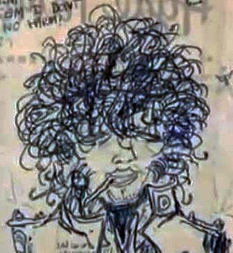 A cartoonish self portrait by Jimi Hendirx, drawn at Brook Street in the late 60s
