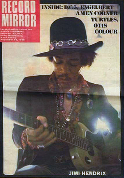 Jimi Hendrix on the front cover on a 1968 edition of 'Record Mirror'