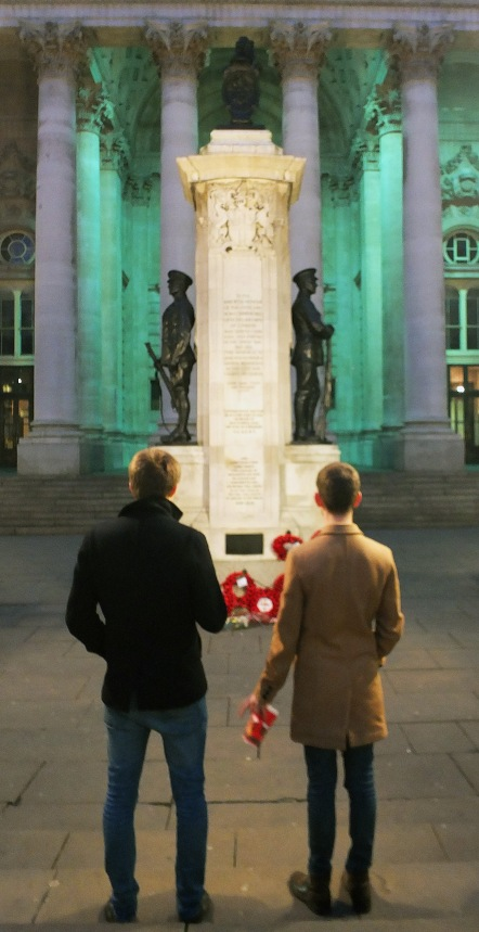 Two young men contemplate the London Memorial, November 2014