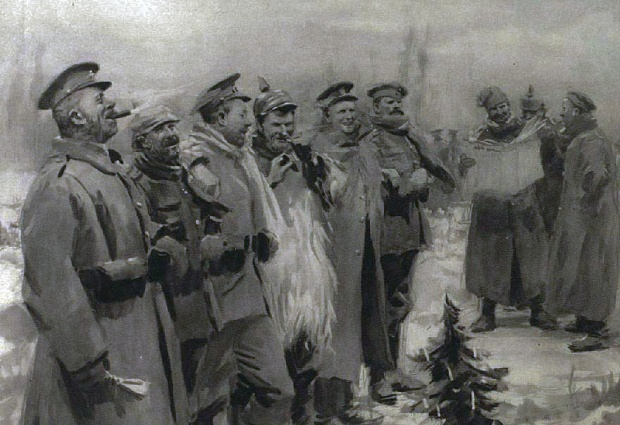 German and British troops together, Christmas 1914