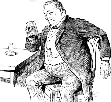 Cartoon of a drunk Victorian man