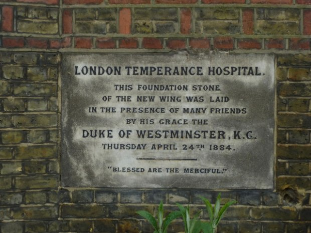 Plaque commemorating the opening of the London Temperance Hospital (image: Geograph)