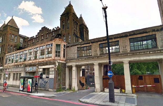 The hospital's dilapidated entrance, as seen from Hampstead Road (image: Google)