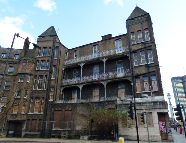 The former London Temperance Hospital as seen from the junction of Hampstead Road and Cardington Street