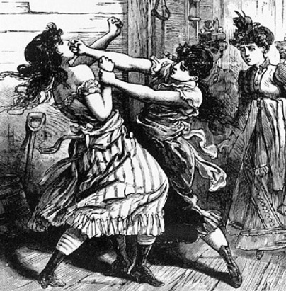 A scrap between two 19th century women