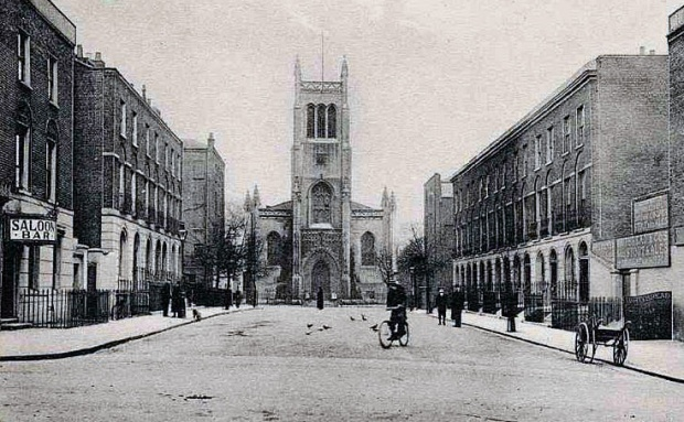 Historic image looking across Inglebert Street towards Myddelton Square. Myddelton Passage leads off to the right, just before the church (image: British History.ac)