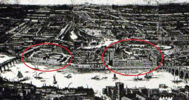 Contemporary sketch showing the proximity of Millbank Penitentiary to the Houses of Parliament