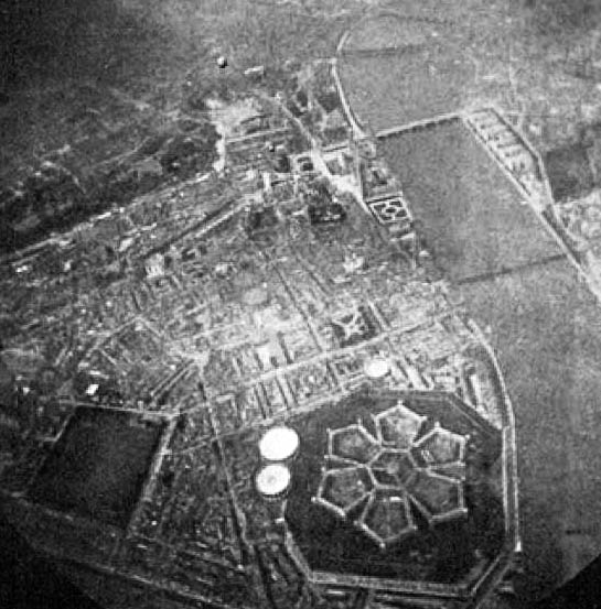 A rare photograph of the now vanished Millbank Penitentiary, taken from a balloon in the late 19th century