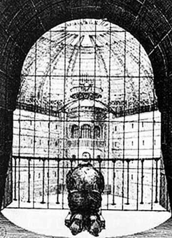 How a prisoner's cell would have looked out upon the Panopticon's watchtower