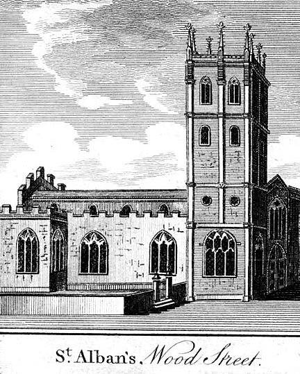 Contemporary image of Wren's St Alban's, Wood Street