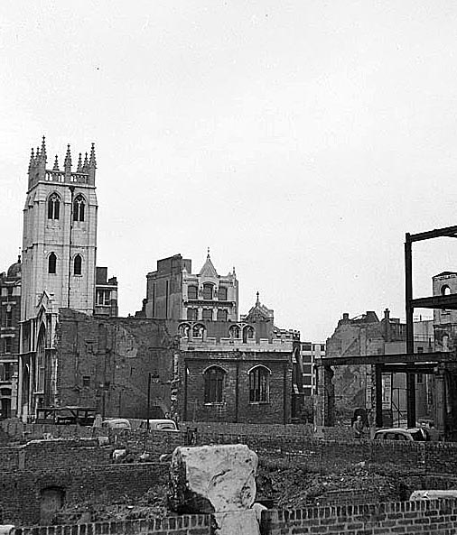 The ruins of St Alban's, Wood Street in 1952