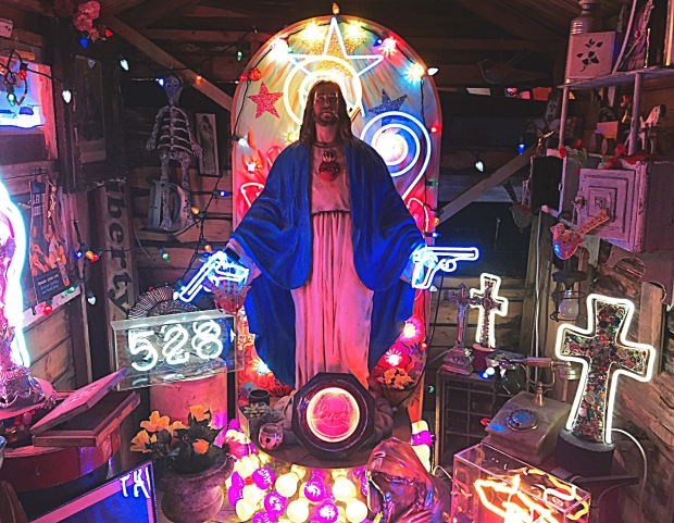 A neon shrine featured in Chris Bracey's collection