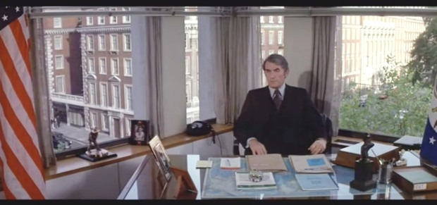 Gregory Peck on location inside the American Embassy on Grosvenor Square.