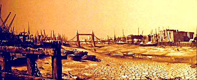 The Thames dried up as portrayed in the Day the Earth Caught Fire...