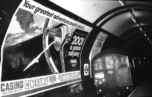Poster advertising '2001 A Space Odyssey' on the London Underground, circa 1968