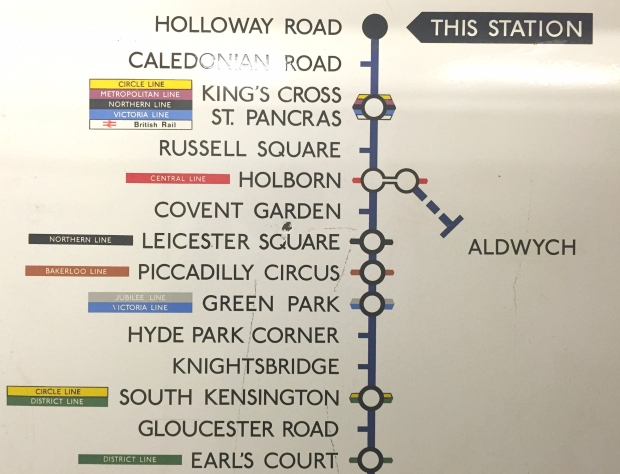 Old map displaying the redundant Aldwych station