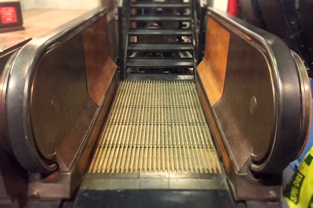 Section of one of the tube's old wooden escalators