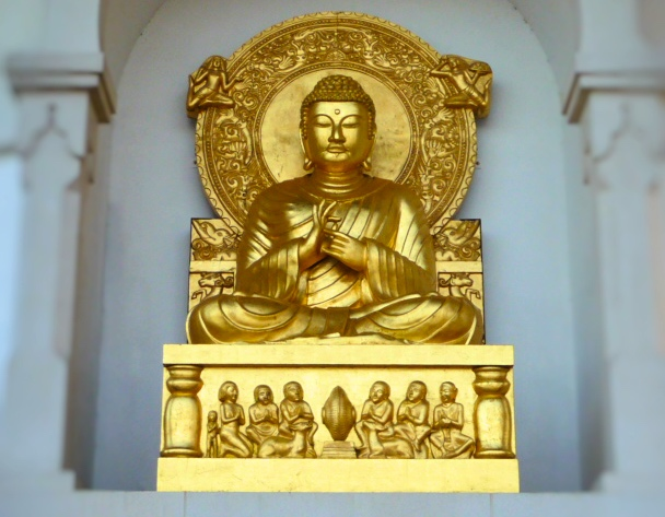 Statue of Buddha at the Battersea Peace Pagoda.
